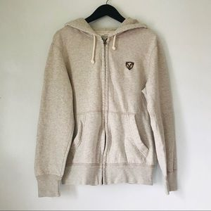 AEO Zip Up Gray Oversized Hoodie